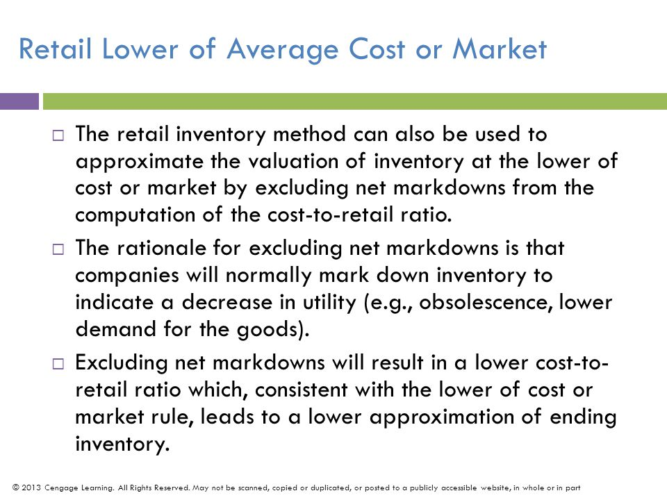 Retail Lower of Average Cost or Market