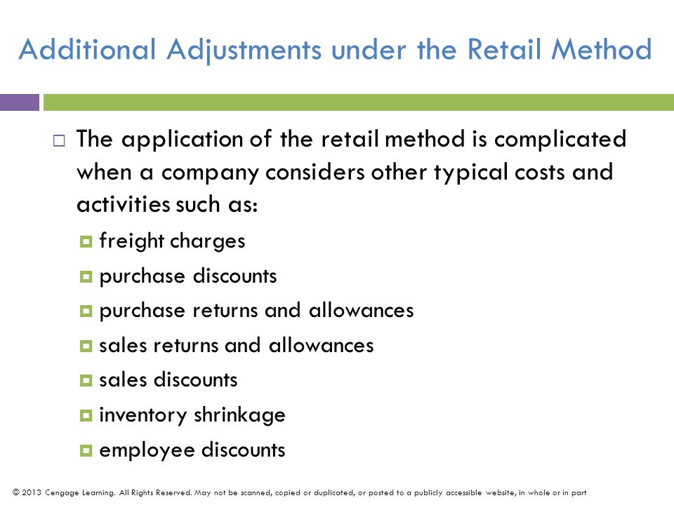 Additional Adjustments under the Retail Method