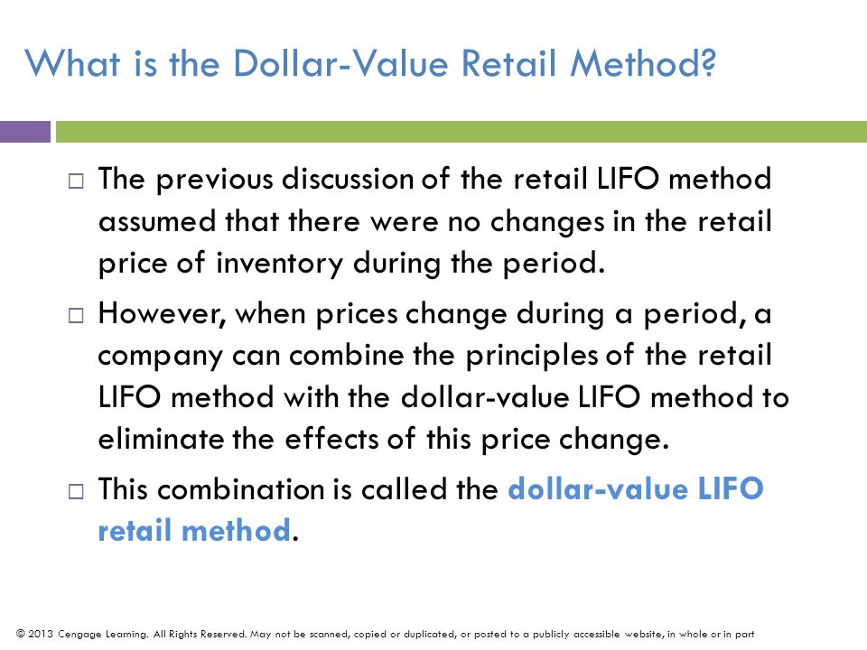 What is the Dollar-Value Retail Method