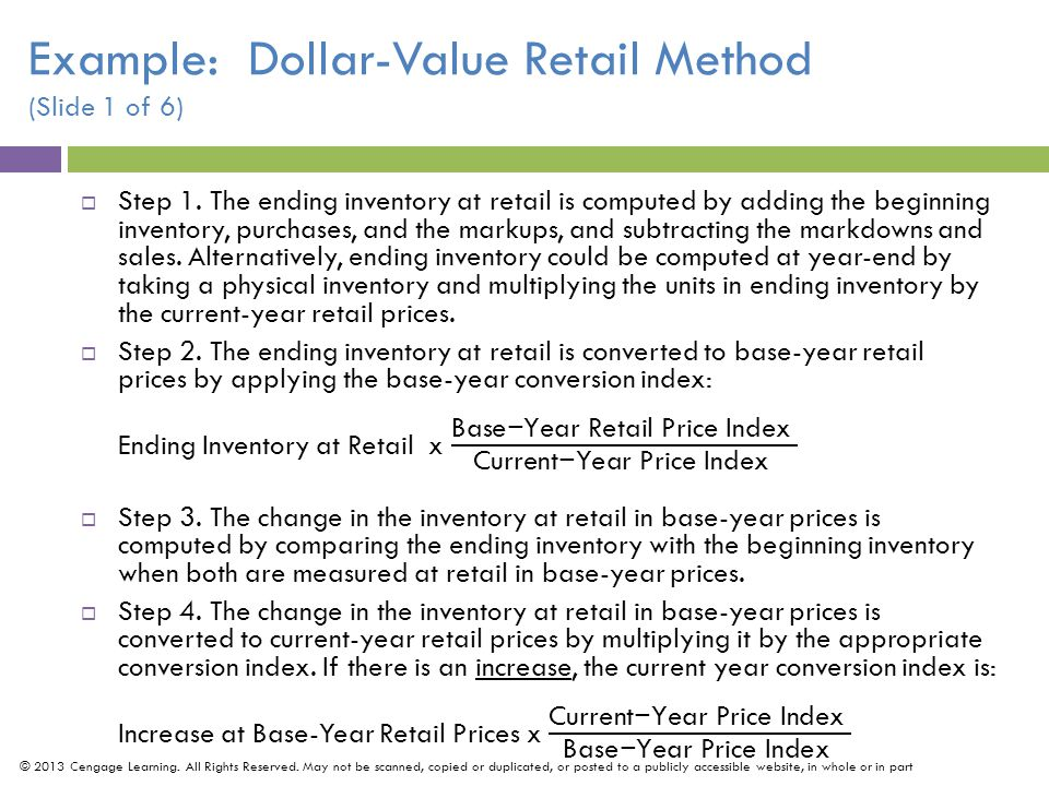 Example: Dollar-Value Retail Method (Slide 1 of 6)