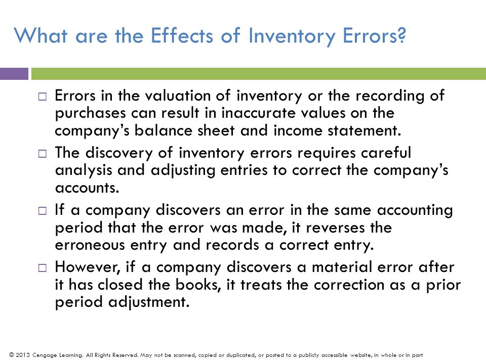 What are the Effects of Inventory Errors