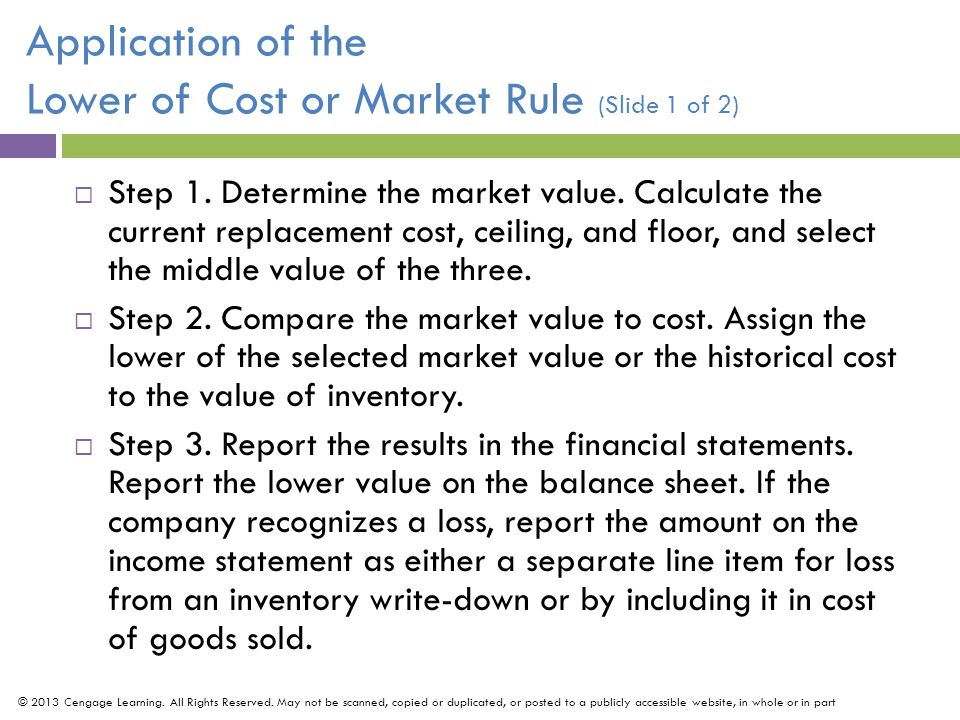 Application of the Lower of Cost or Market Rule (Slide 1 of 2)