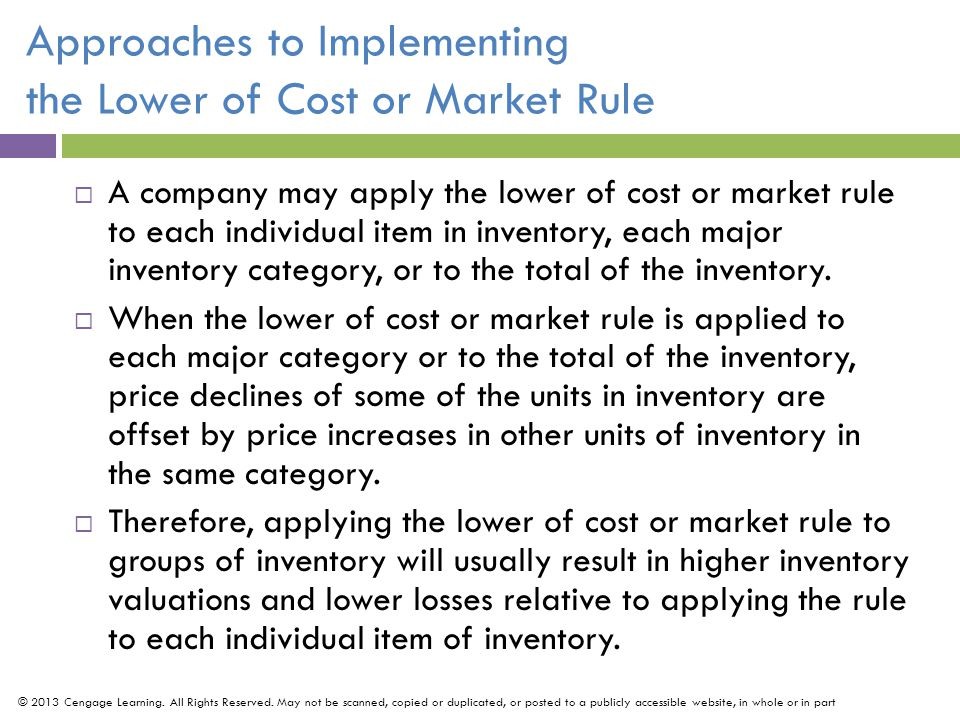 Approaches to Implementing the Lower of Cost or Market Rule