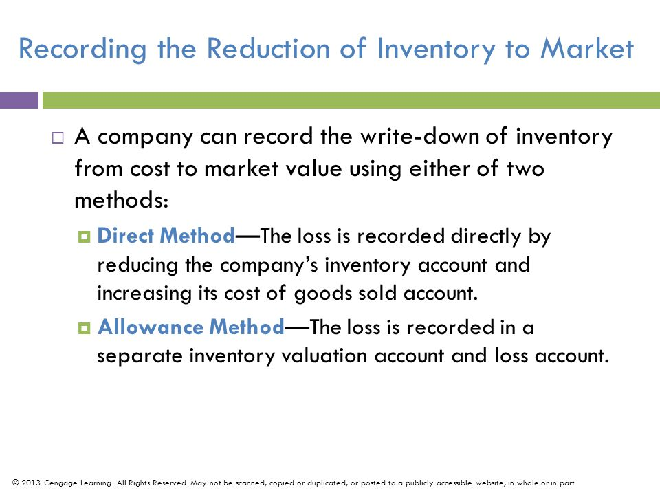 Recording the Reduction of Inventory to Market