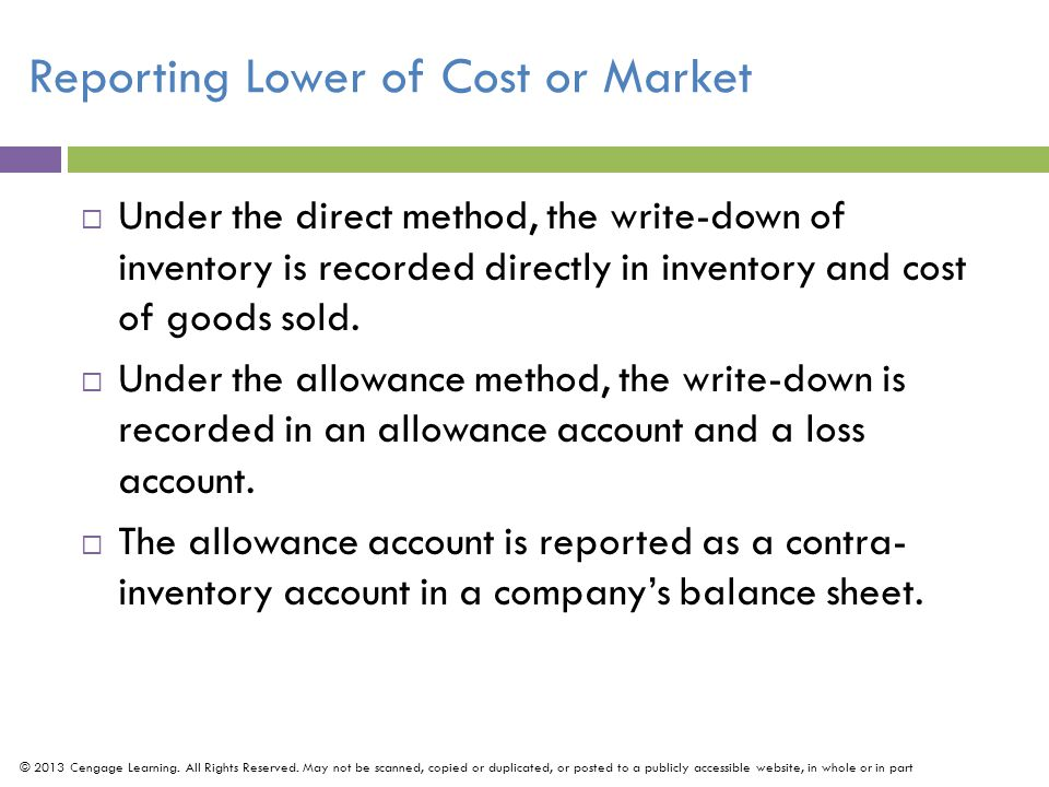 Reporting Lower of Cost or Market