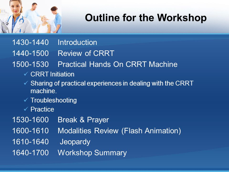 Outline for the Workshop