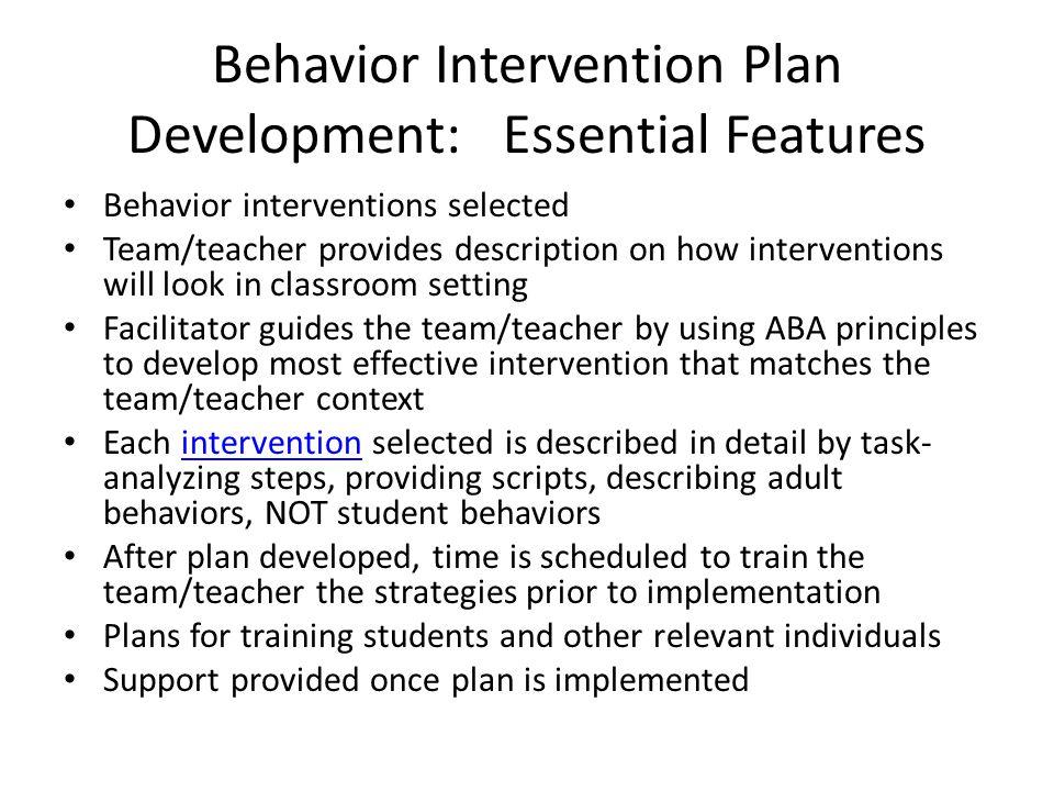 Behavior Intervention Plan Development: Essential Features
