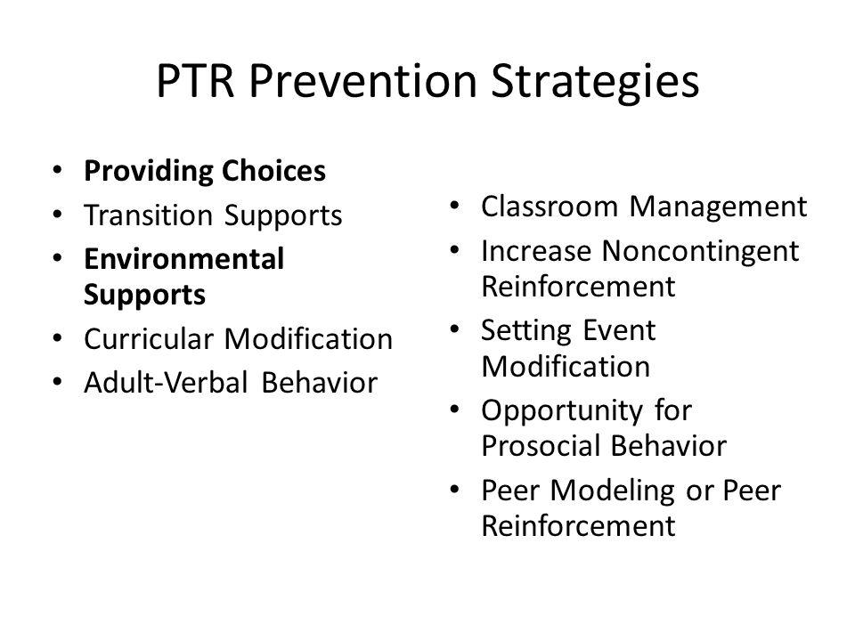 PTR Prevention Strategies
