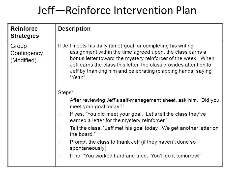 Jeff—Reinforce Intervention Plan