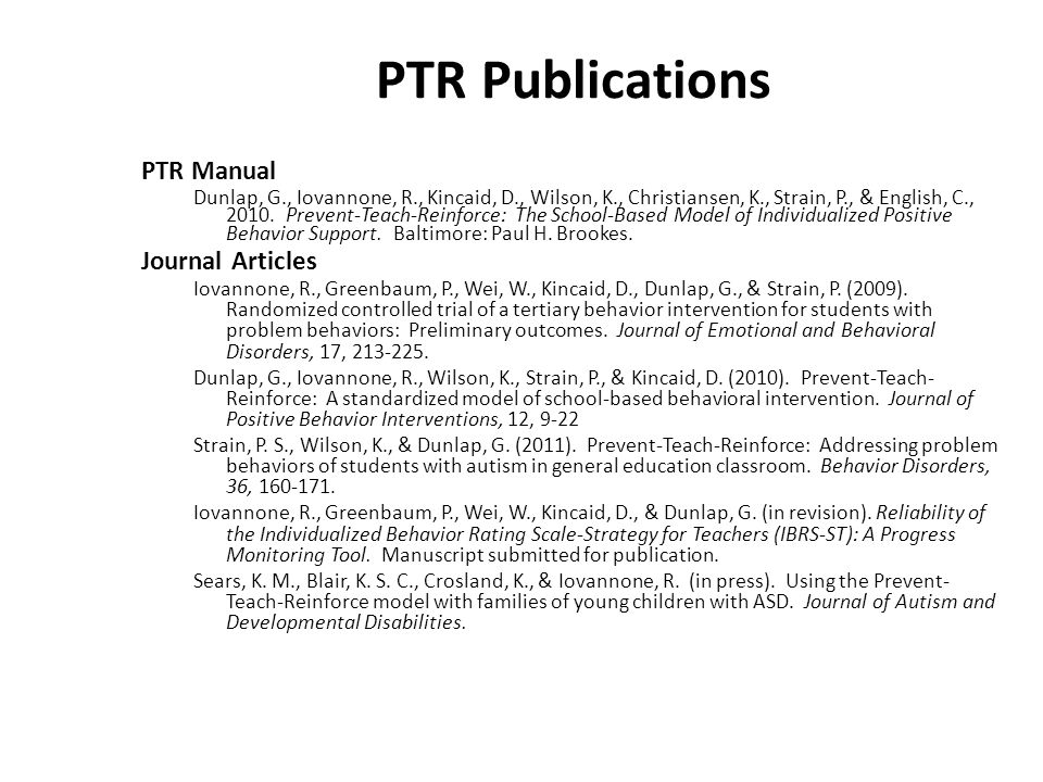 PTR Publications PTR Manual Journal Articles