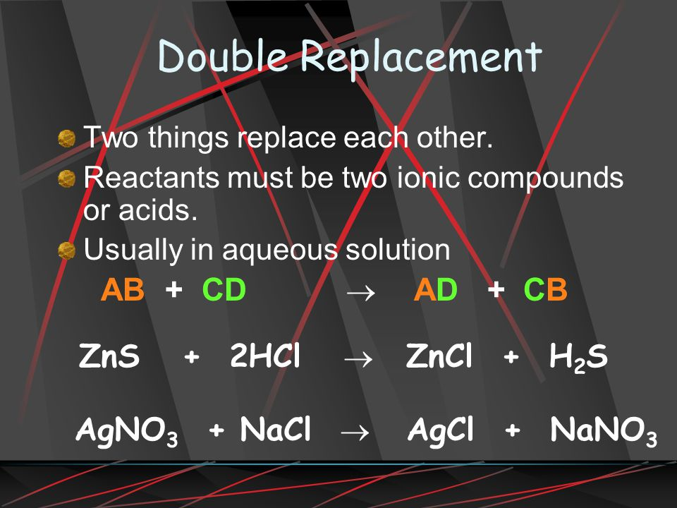 Double Replacement AB + CD ® AD + CB ZnS + 2HCl ® ZnCl + H2S