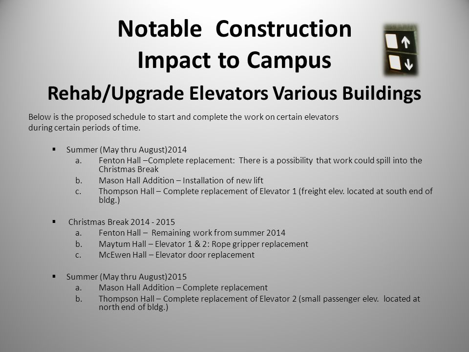 Notable Construction Impact to Campus