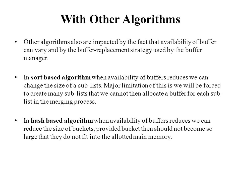 With Other Algorithms