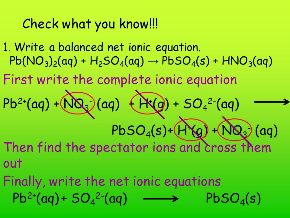 First write the complete ionic equation