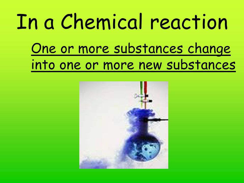 In a Chemical reaction One or more substances change into one or more new substances