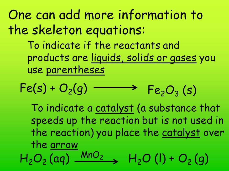 One can add more information to the skeleton equations: