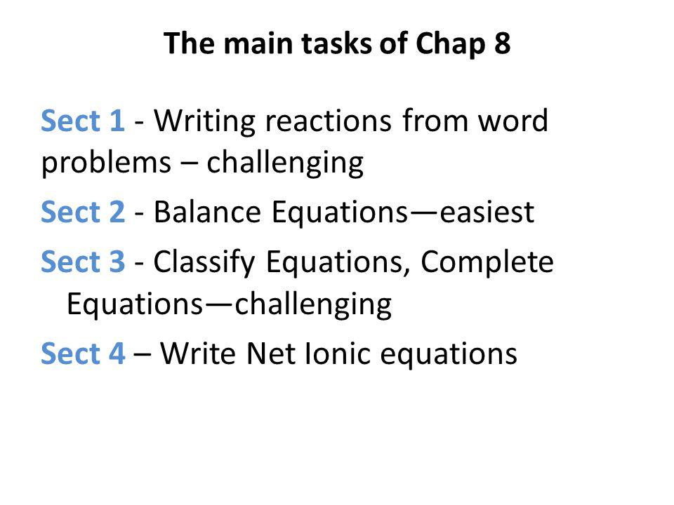 The main tasks of Chap 8