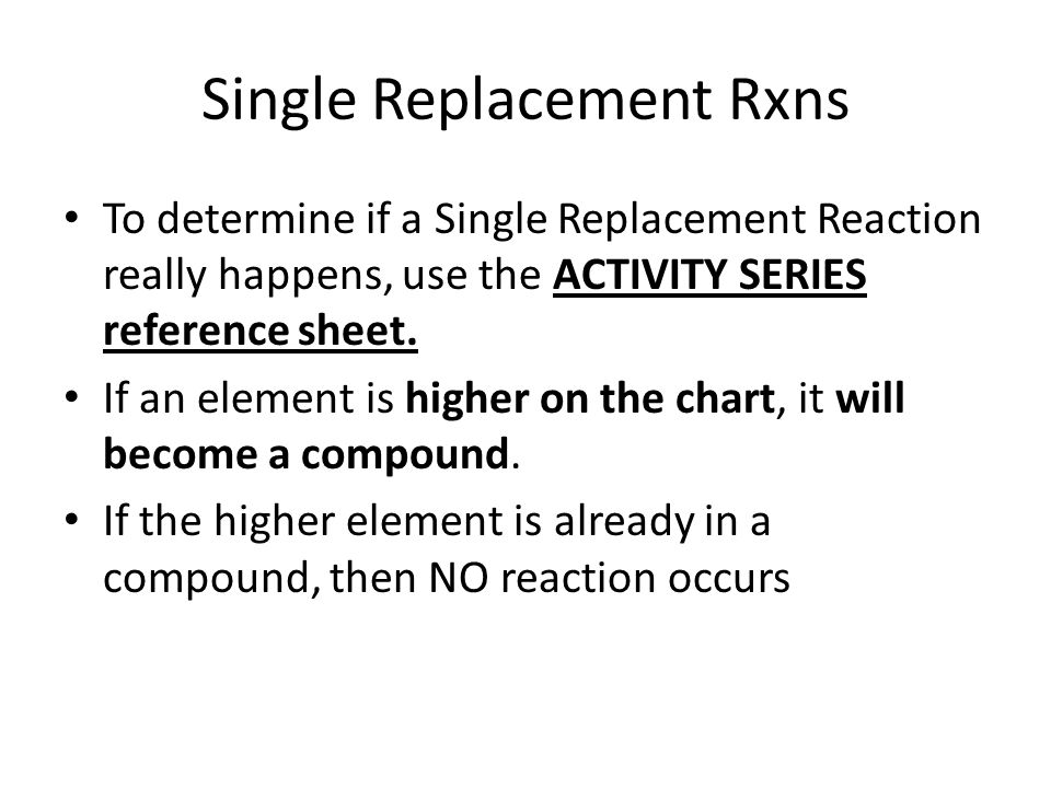write a single replacement reaction chart