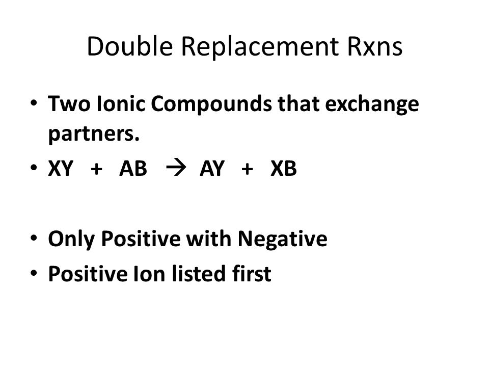 Double Replacement Rxns