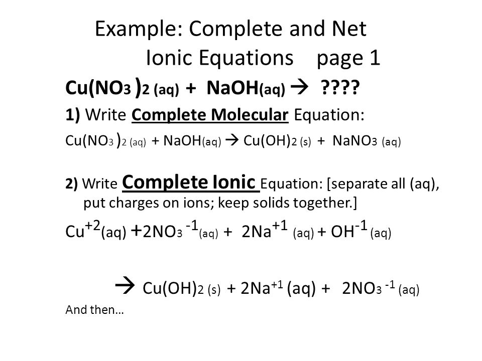 Example: Complete and Net Ionic Equations page 1