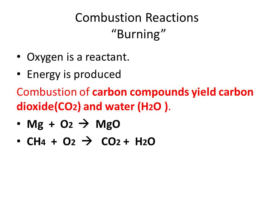 Combustion Reactions Burning