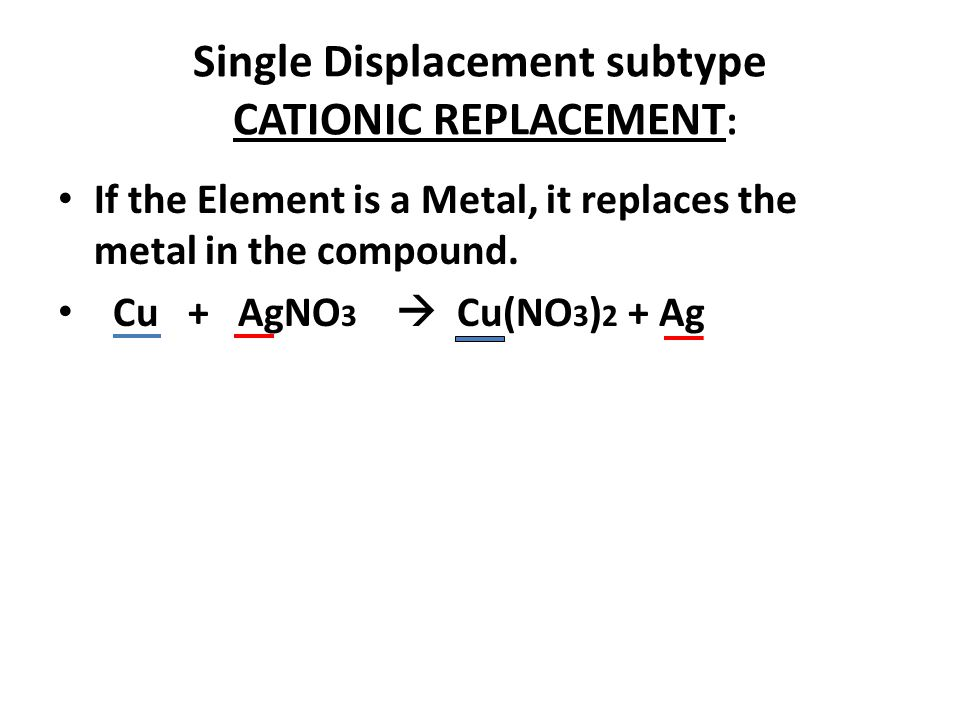 Single Displacement subtype CATIONIC REPLACEMENT: