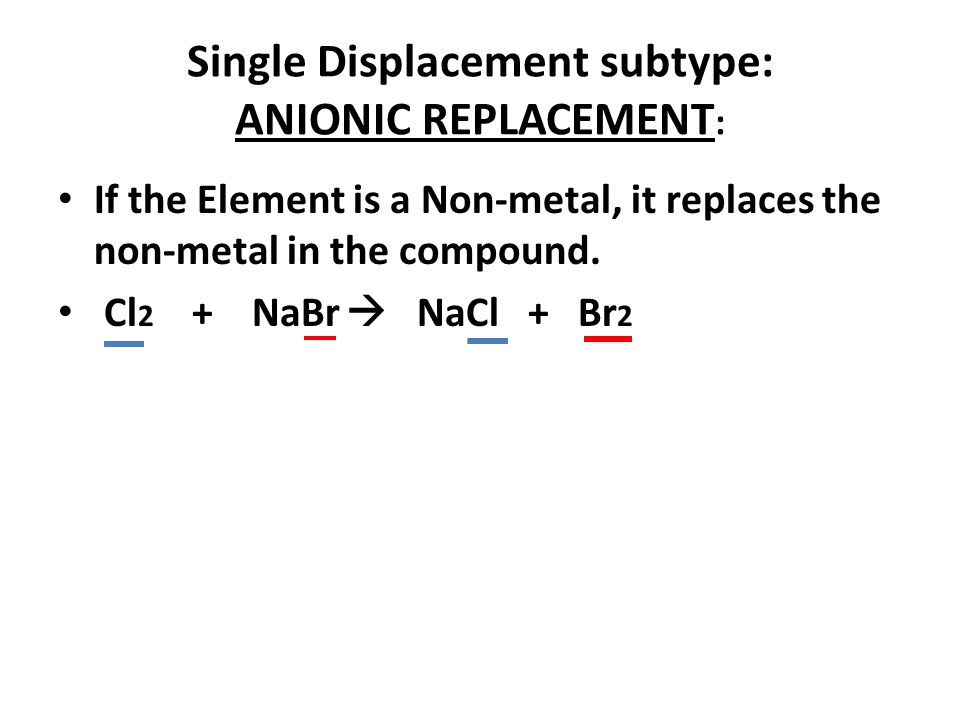 Single Displacement subtype: ANIONIC REPLACEMENT: