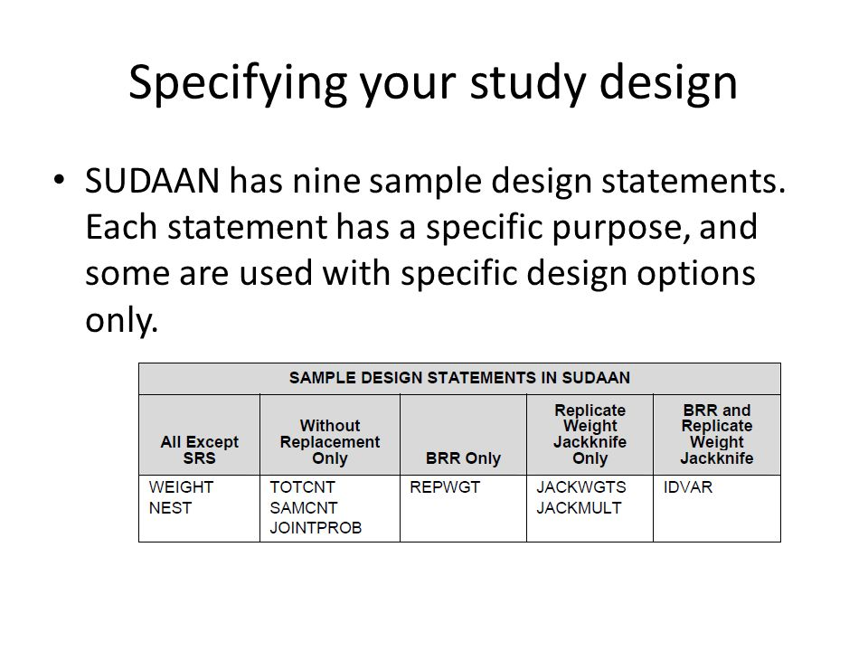 Specifying your study design