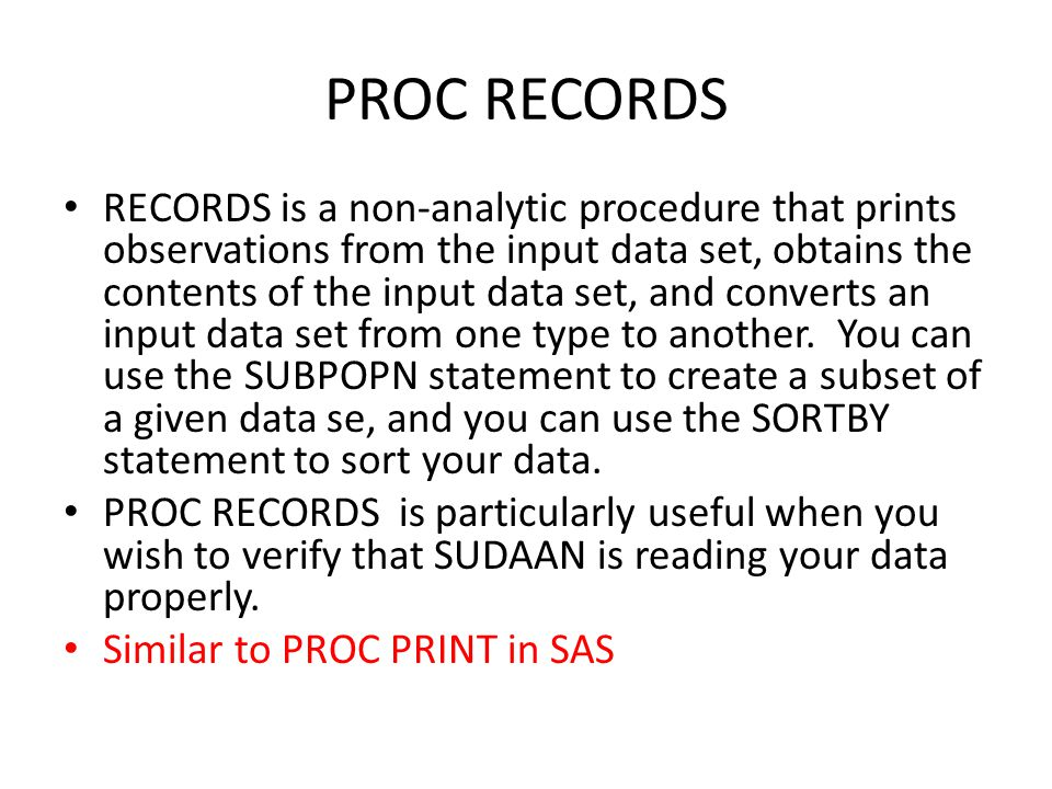PROC RECORDS