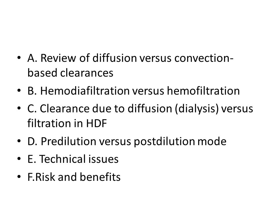 A. Review of diffusion versus convection-based clearances