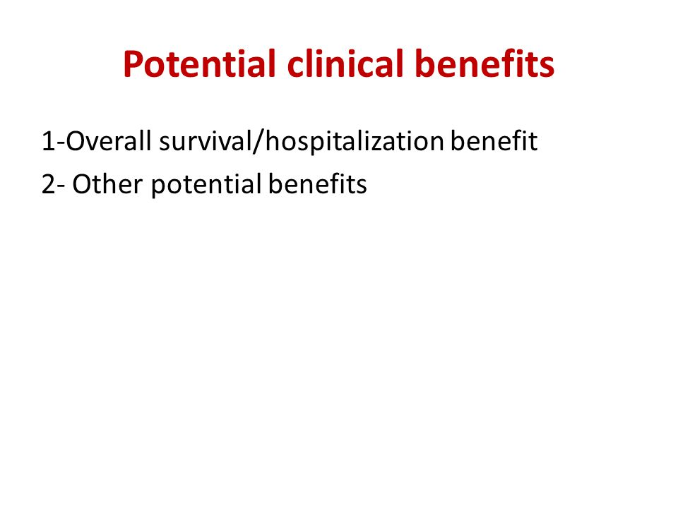 Potential clinical benefits