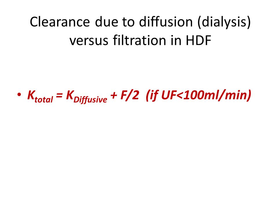 Clearance due to diffusion (dialysis) versus filtration in HDF