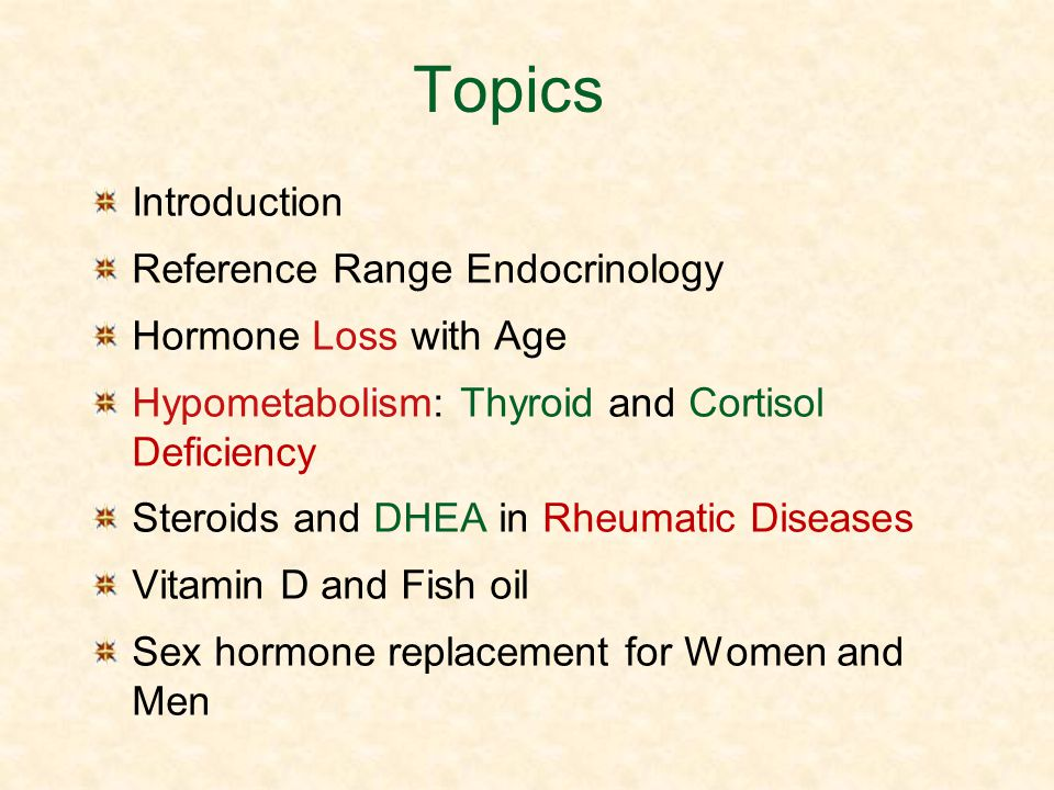 Topics Introduction Reference Range Endocrinology