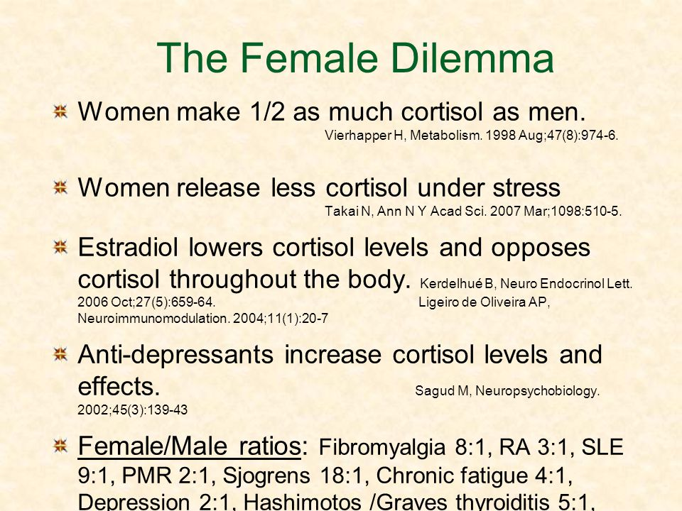 The Female Dilemma Women make 1/2 as much cortisol as men. Vierhapper H, Metabolism. 1998 Aug;47(8):974-6.