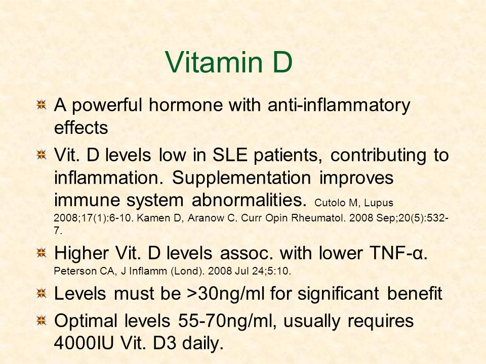 Vitamin D A powerful hormone with anti-inflammatory effects