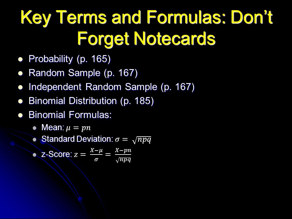 Key Terms and Formulas: Don't Forget Notecards