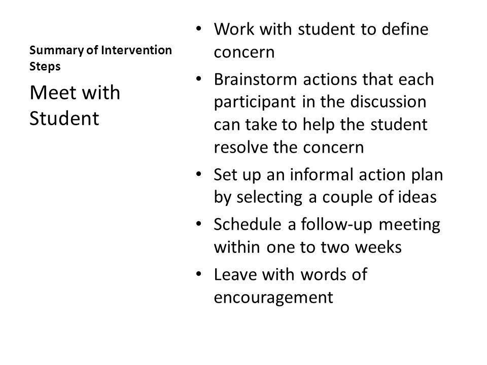 Summary of Intervention Steps