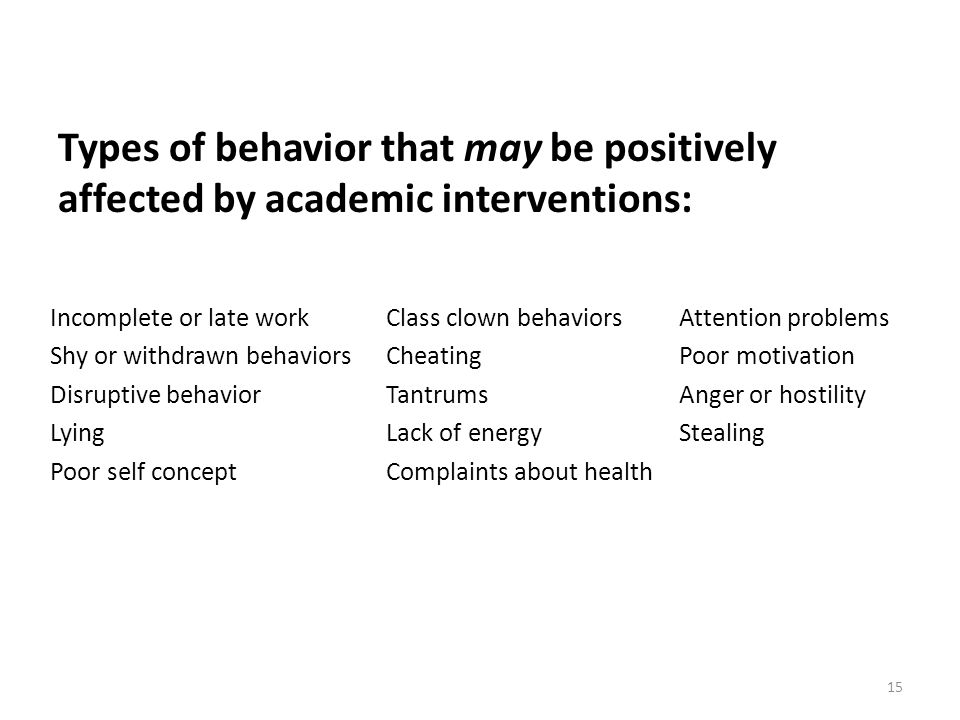 Types of behavior that may be positively affected by academic interventions: