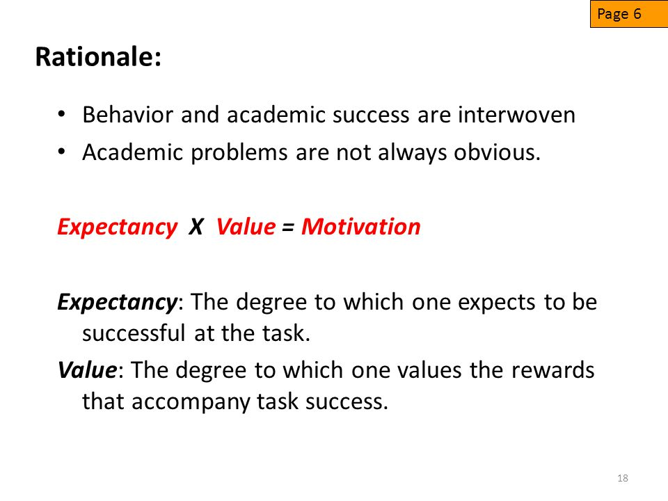 Rationale: Behavior and academic success are interwoven