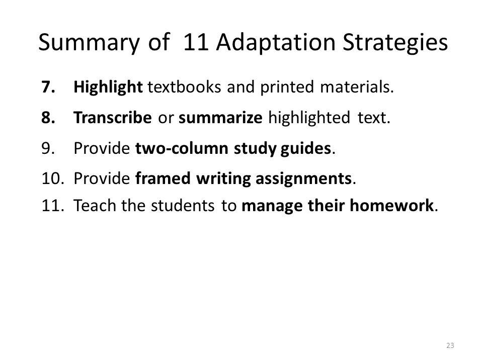 Summary of 11 Adaptation Strategies