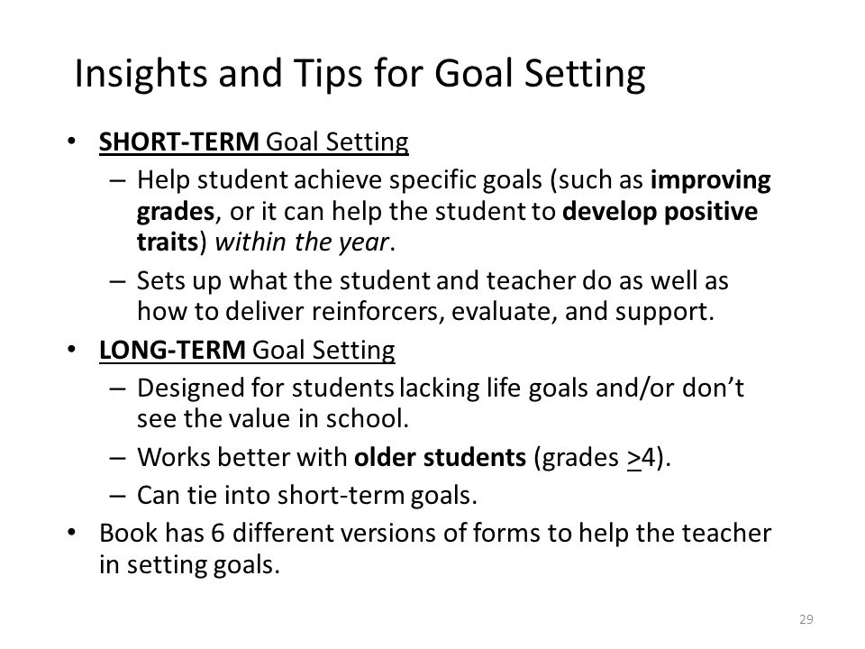 Insights and Tips for Goal Setting