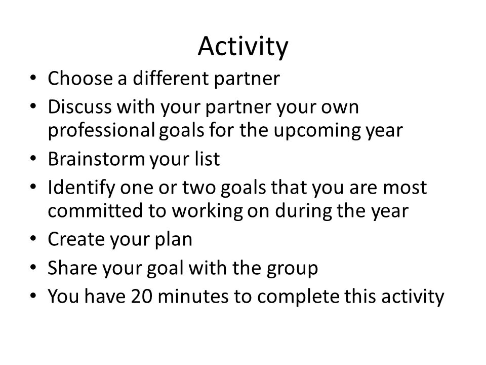 Activity Choose a different partner