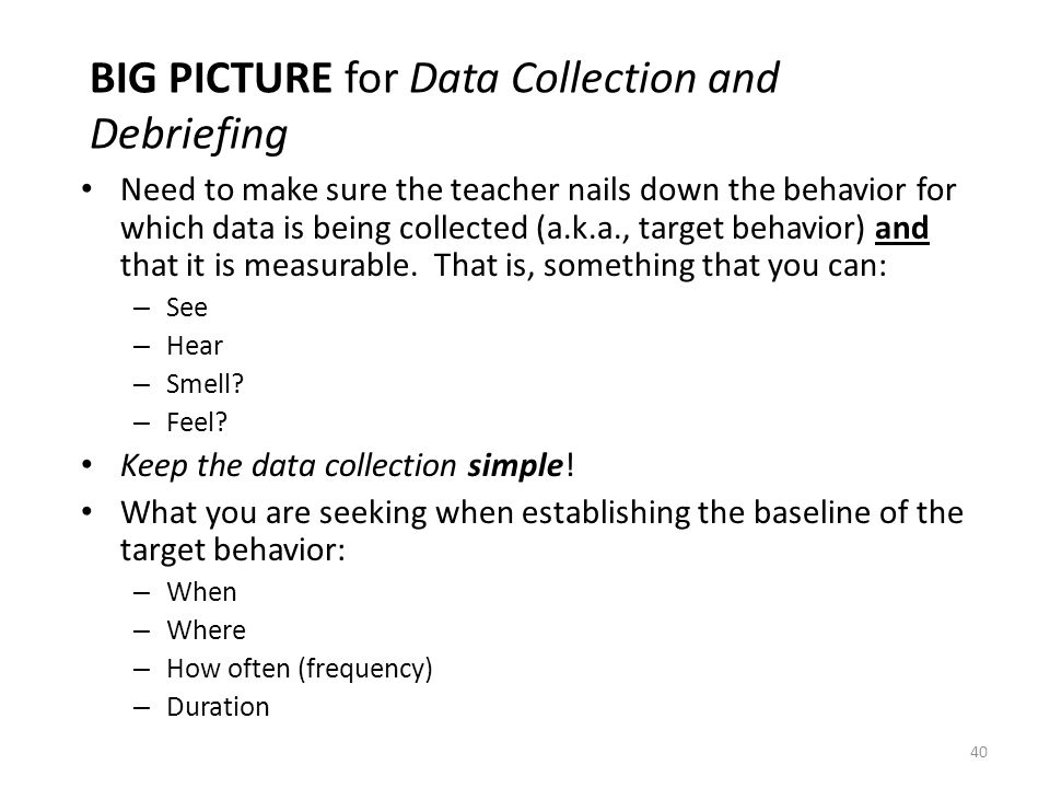 BIG PICTURE for Data Collection and Debriefing