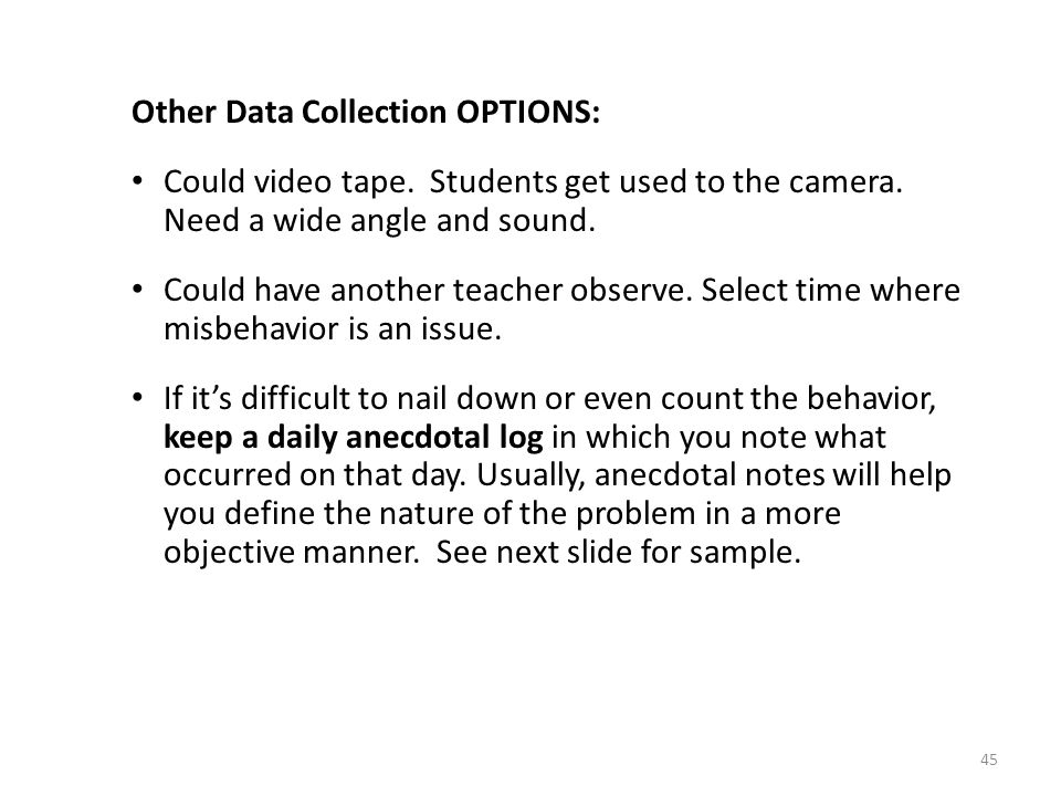 Other Data Collection OPTIONS: