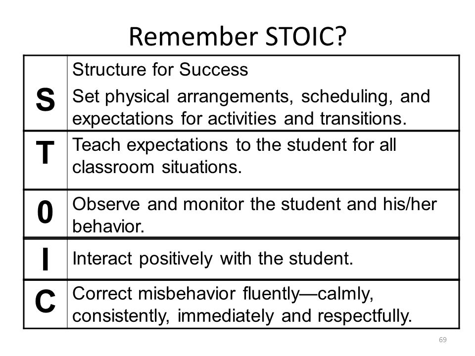 T I C Remember STOIC S Structure for Success