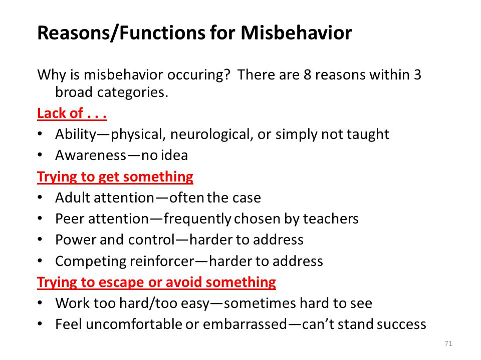 Reasons/Functions for Misbehavior