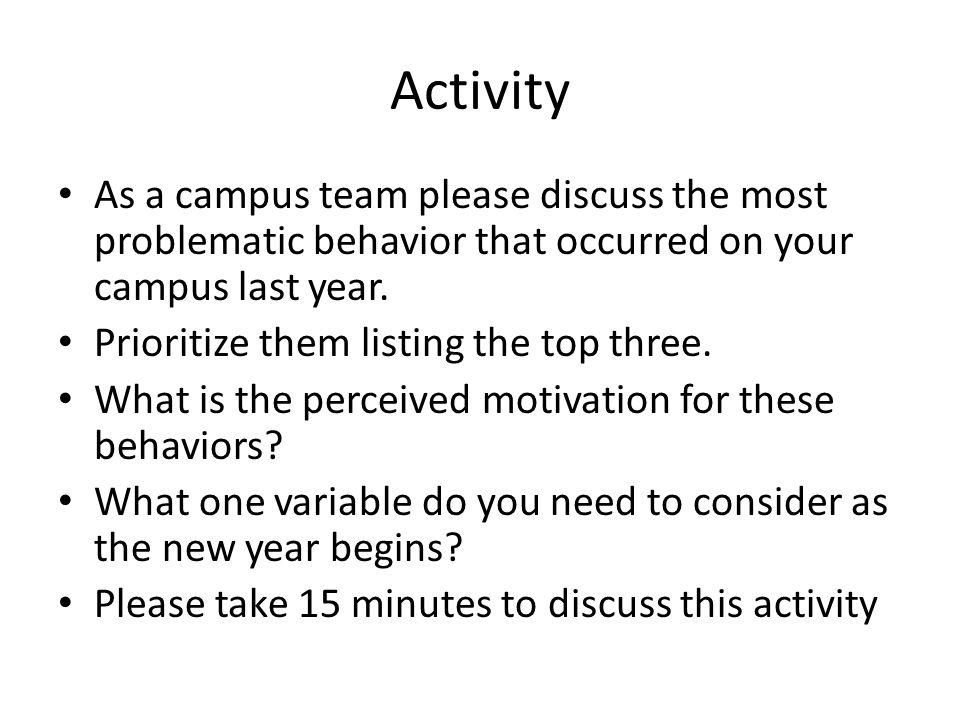 Activity As a campus team please discuss the most problematic behavior that occurred on your campus last year.