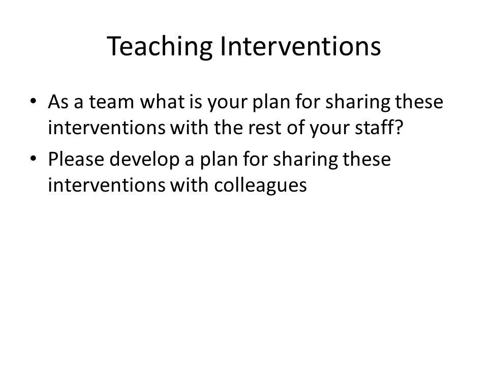Teaching Interventions
