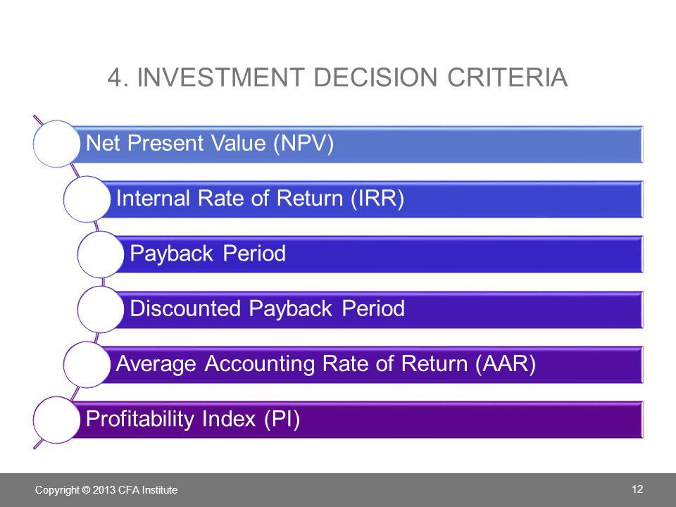 4. Investment decision criteria