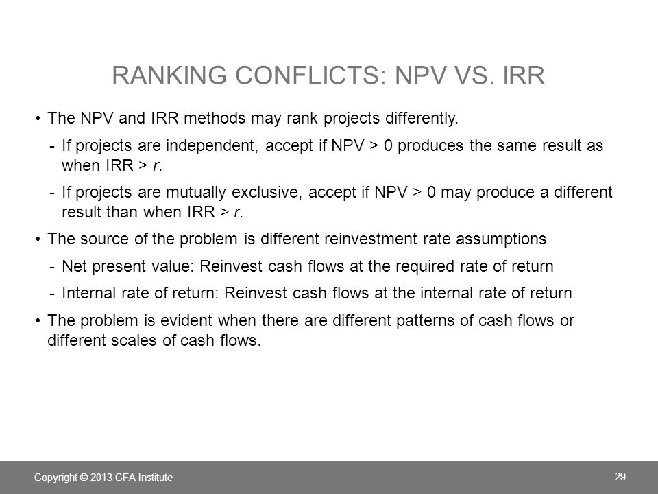 Ranking conflicts: NPV vs. IRR